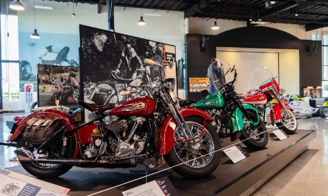 Harley Davidson motorcycle exhibit at World of Speed museum in Wilsonville