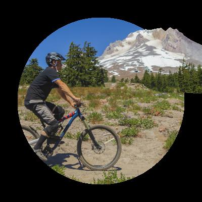 Mountain biker near Mt. Hood