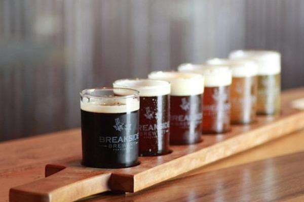 Flight of beer at Breakside Brewery