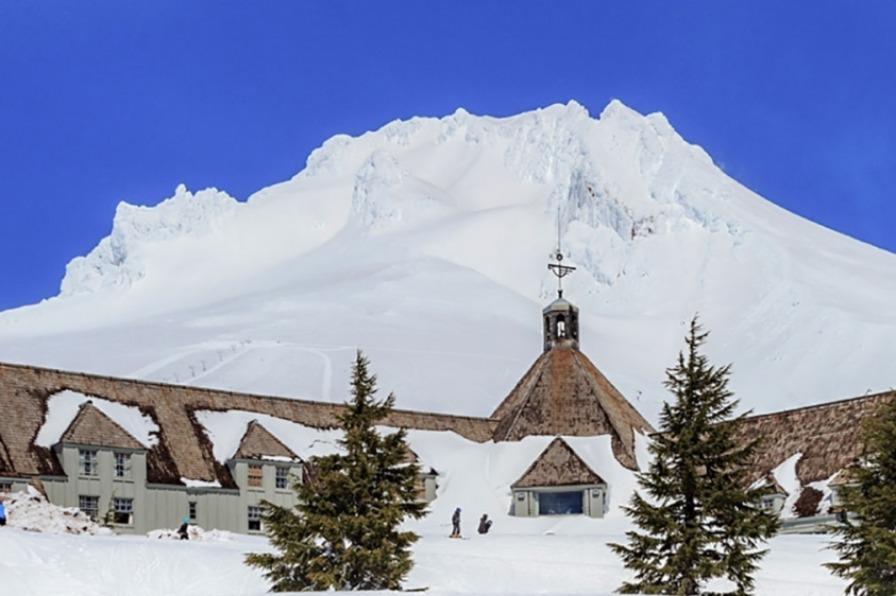 Skier leaves Timberline Lodge on Mt. Hood