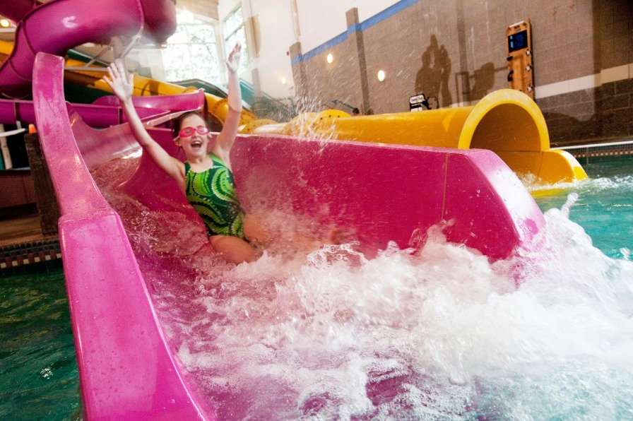 Kids of all ages have fun on the slides and waves at the North Clackamas Aquatic Park in Mt. Hood Territory