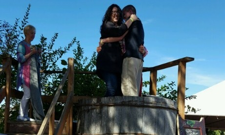 Two participants in the grapestomping festival at St. Josefs Winery