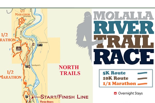 Molalla River Trail Run map and flyer