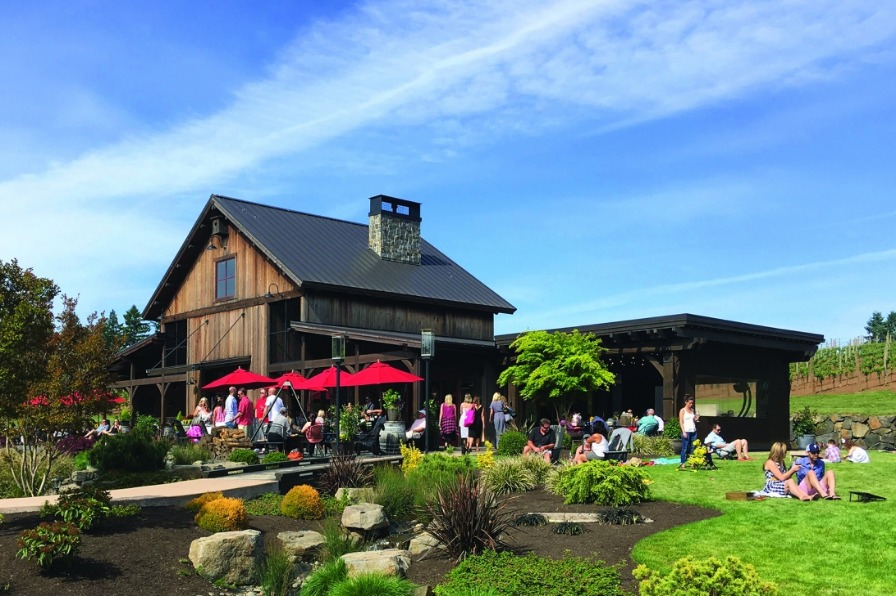 Tumwater Vineyard with people outside