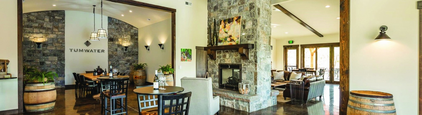 Interior of Tumwater Vineyard tasting room with fireplace
