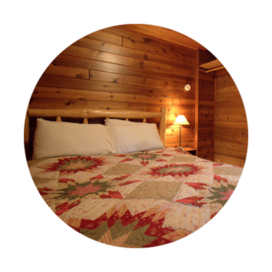 Alderwood Cabin Log Bed with Quilt