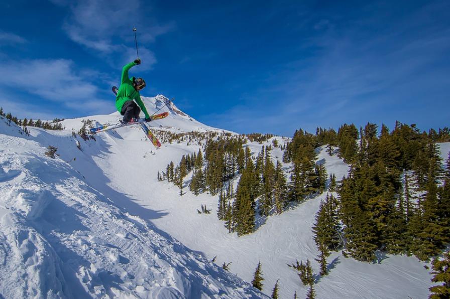 Skier jumps at Mt. Hood Meadows resort