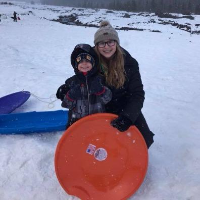 Kids sledding at White River SnoPark on Mt. Hood
