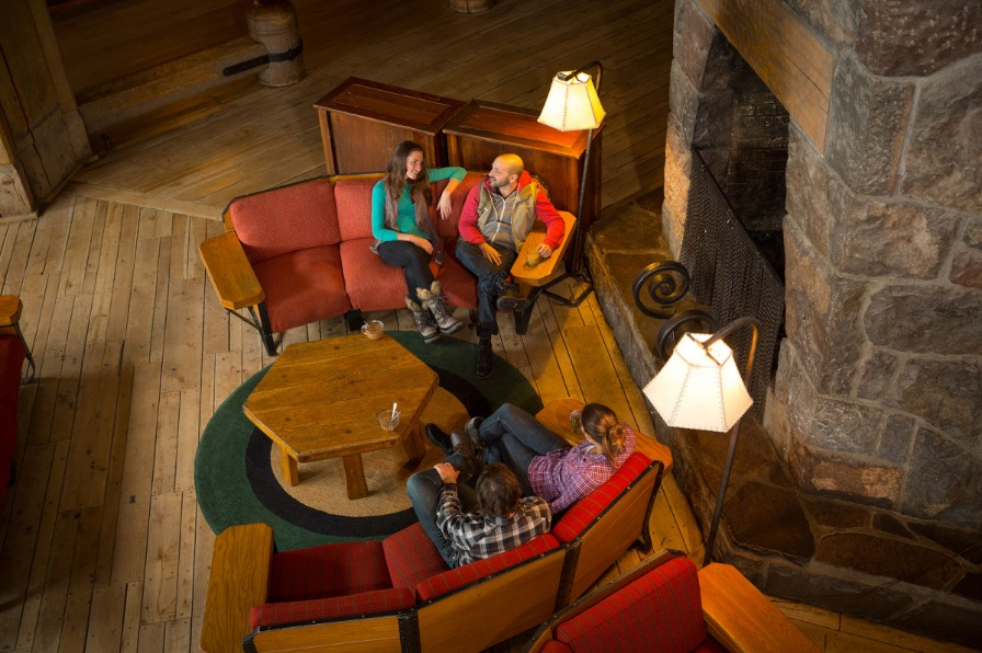 Fireplace at Timberline Lodge