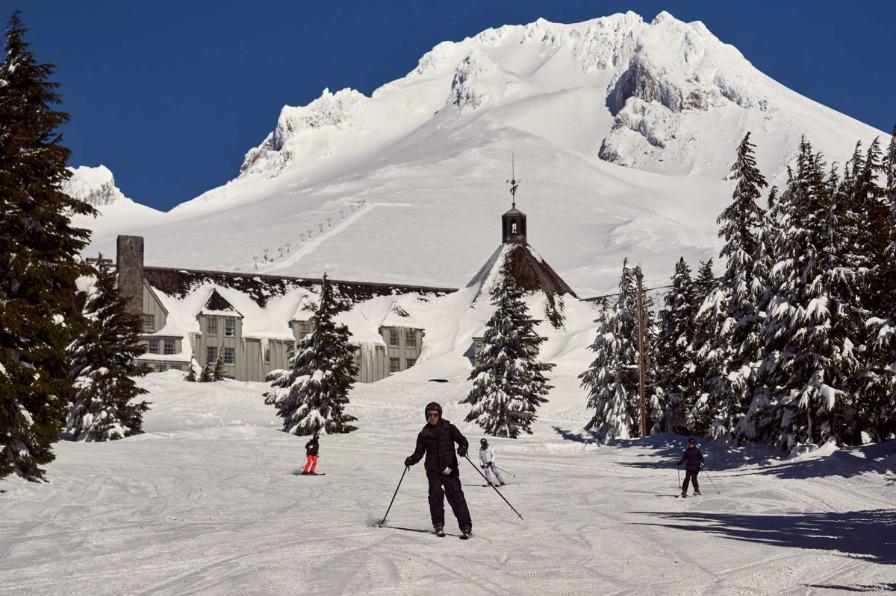 Timberline Lodge on Mt. Hood skiers