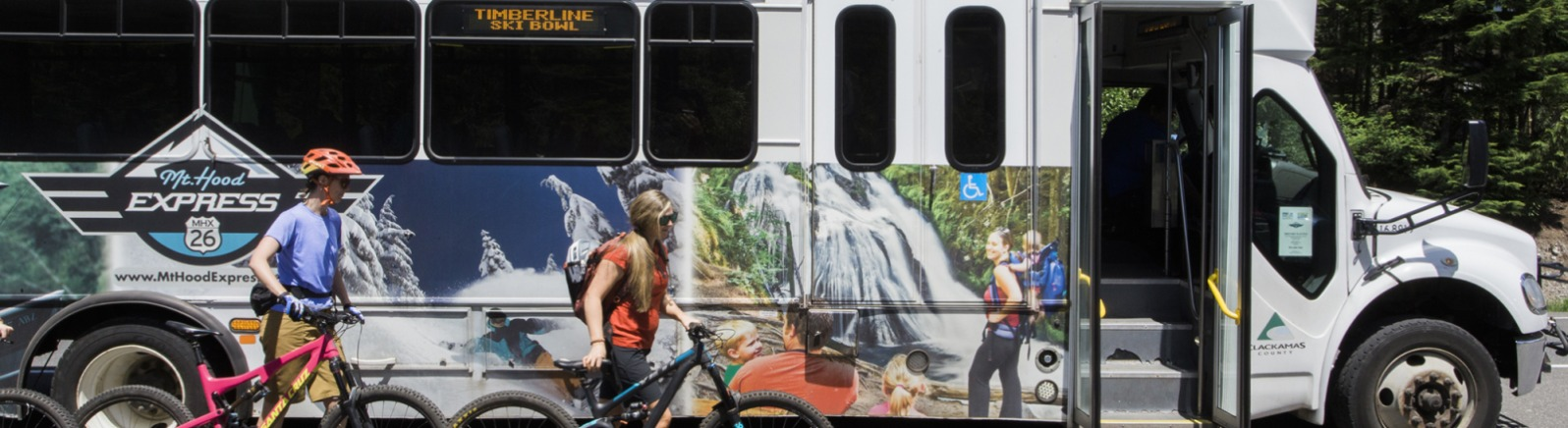 Boarding Mt. Hood Express with mountain bikes