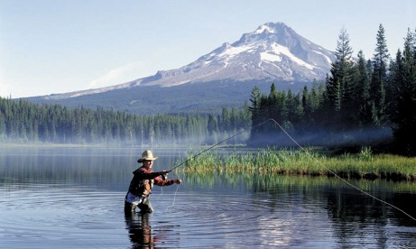 Fly Fishing Fisherman, Trillium Lake, Mt Hood