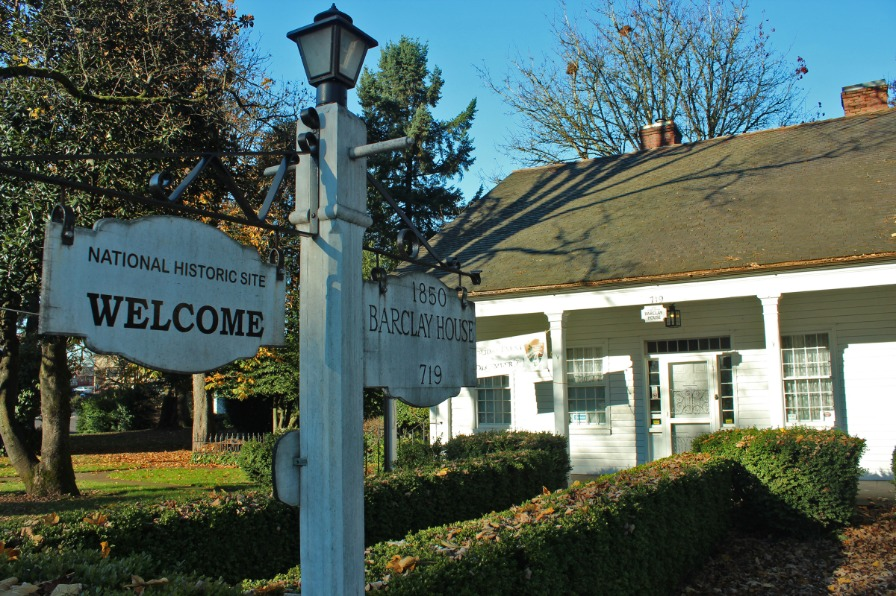Historic Barclay House and sign