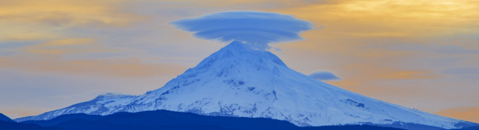 Lenticular Cloud Hovering of Mt Hood at Sunrise