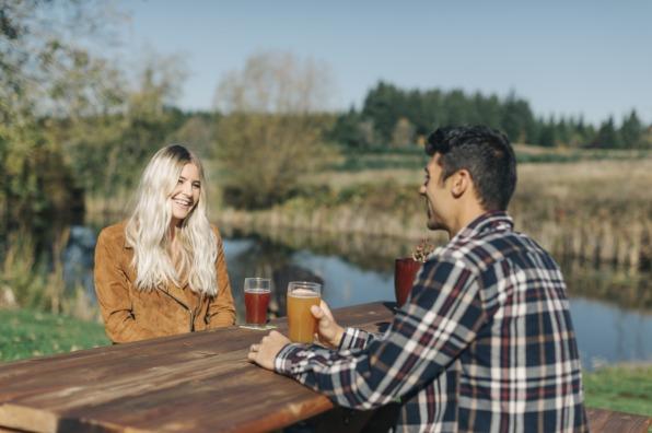 Outdoor cider tasting at Stone Circle Cider