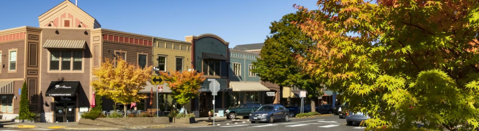 Historic West Linn Willamette District Main Street fall color