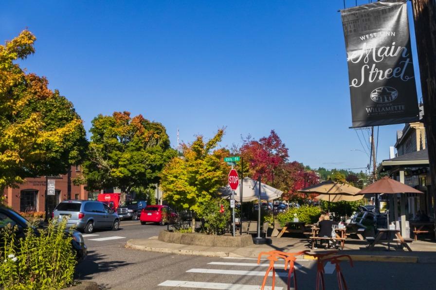 West Linn's Mainstreet District during fall