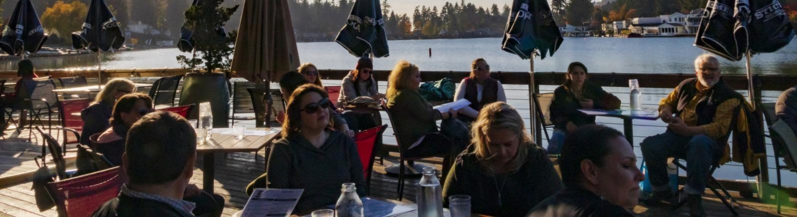Outdoor dining at Stickmen Brewing in Lake Oswego
