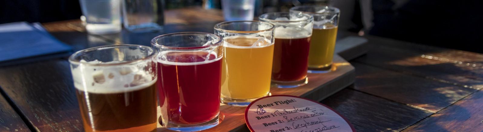 beer flight at Stickmen Brewing in Lake Oswego