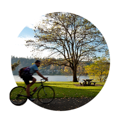 Cyclist on the Willamette Waterfront in Milwaukie Bay Park