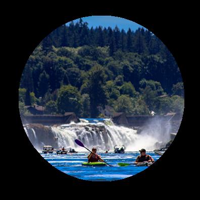 kayakers at Willamette Falls in Oregon City