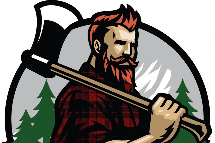 Logo of a lumberjack for Timber Town Grub food cart