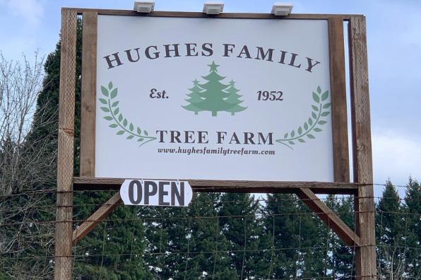 Sign for Hughes Family Tree Farm