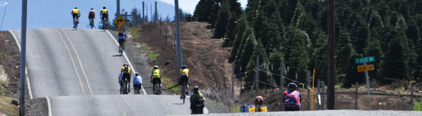 12 cyclists on several hills and dips in the road on route during the Pioneer Century Ride in Oregon's Mt. Hood Territory