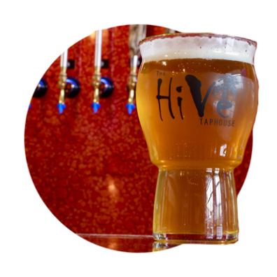 Hive Taphouse large logo'd glass filled with amber beer with a frothy white head set on counter with 3 taps behind it