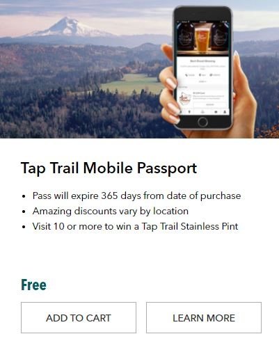 Hand holding phone showing the Tap Trail Mobile Passport over scenic photo of Mt. Hood from Jonsrud Viewpoint in Sandy