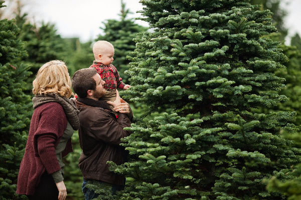 Family at Christmas tree farm