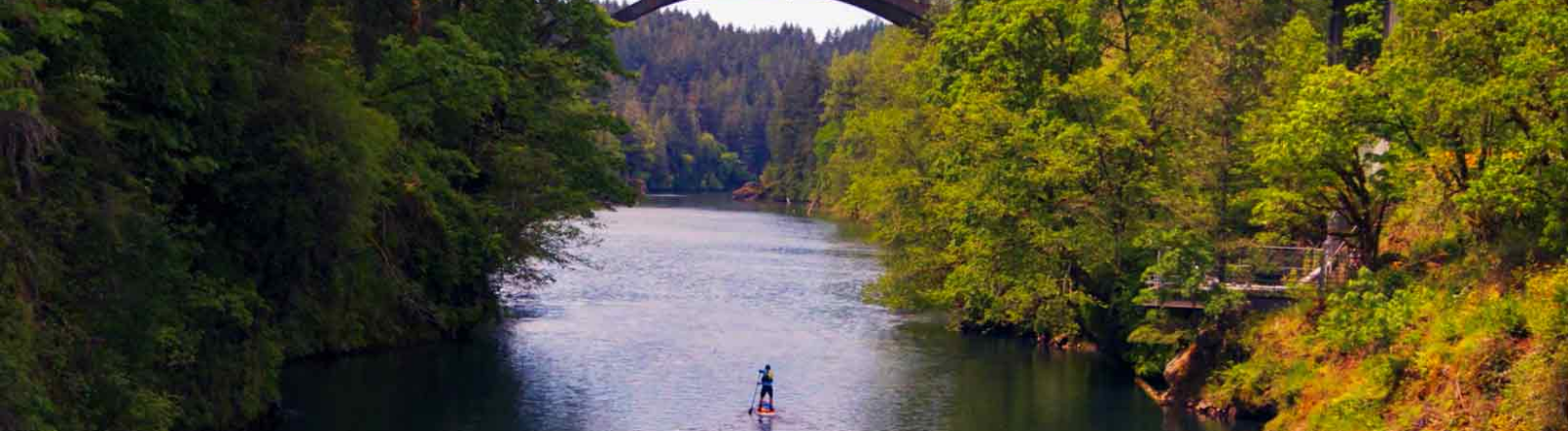 Standup paddleboarder on the Clackamas River Oregons Mount Hood Territory