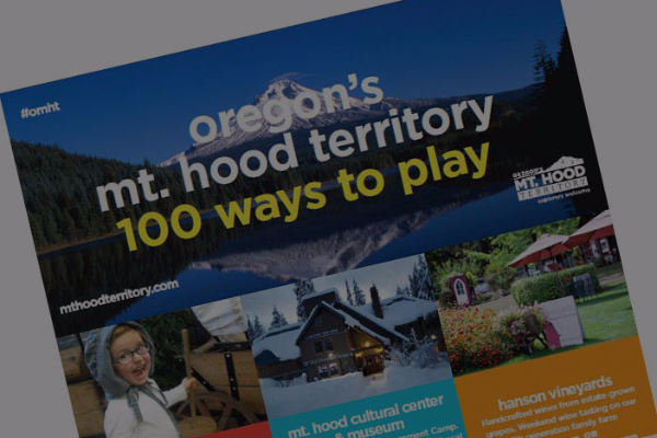 Co-op print ad sample showing cover of Oregon's Mt. Hood Territory 100 Ways to Play brochure