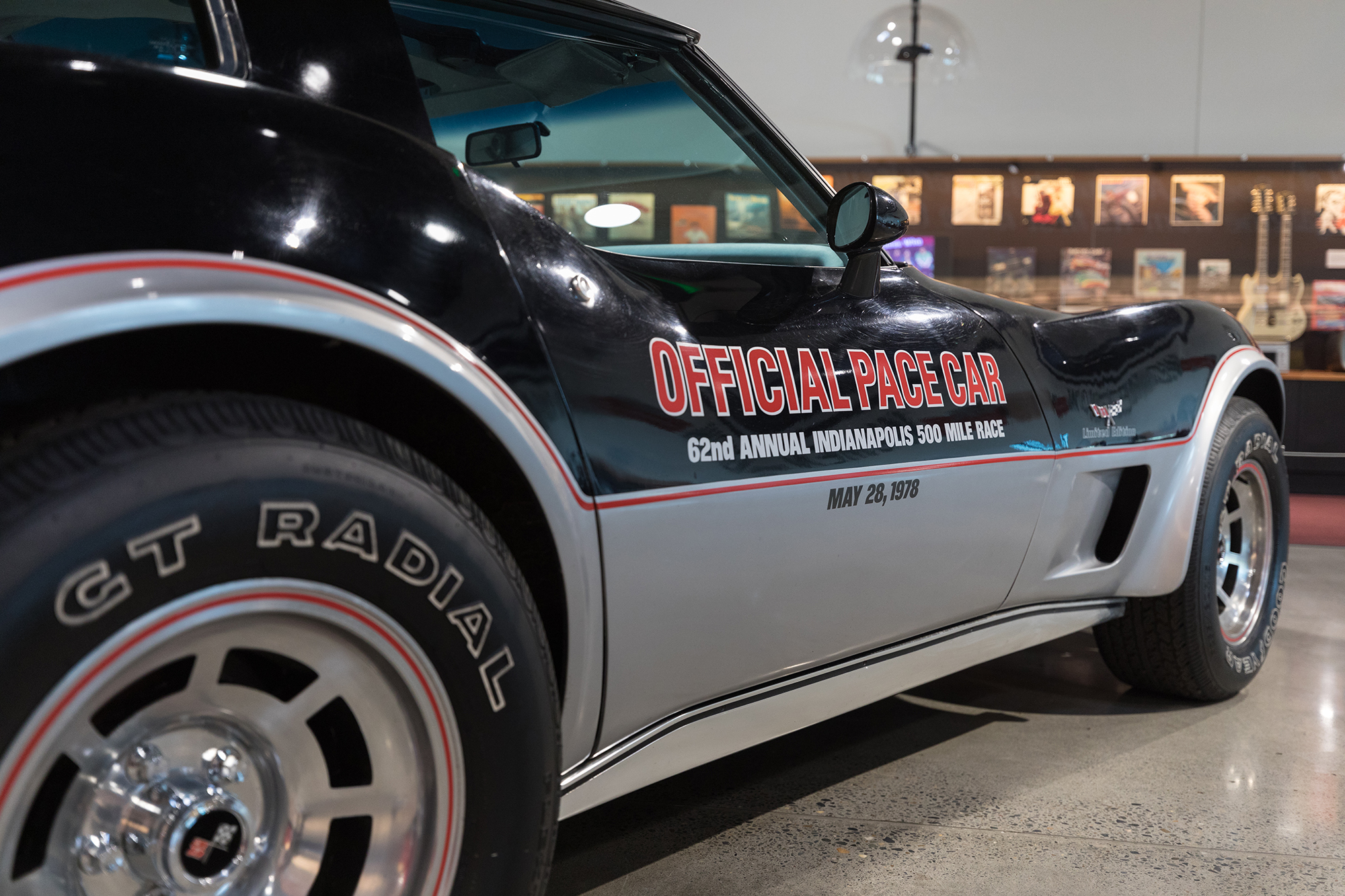 Black Corvette which was the Official Pace car of the Indy 500 on May 28, 1978 on display at World of Speed in Wilsonville