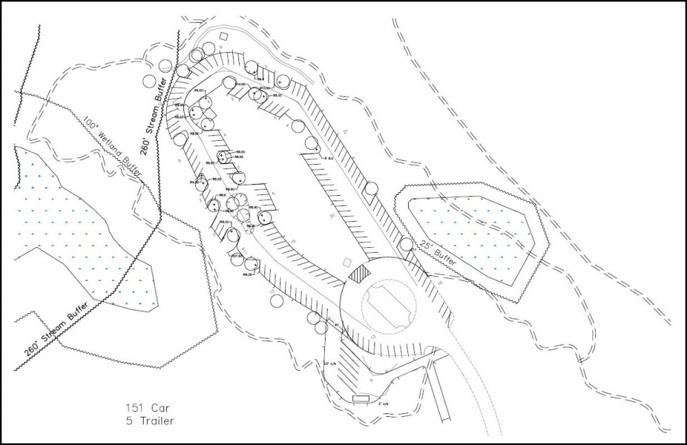 Drawing of Sandy Ridge Trail upgrades to parking lot and trails by Bureau of Land Management in Oregons Mount Hood Territory.