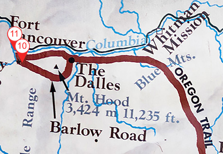 Map with ten sites called out along The Oregon Trail in Idaho, Washington and Oregon