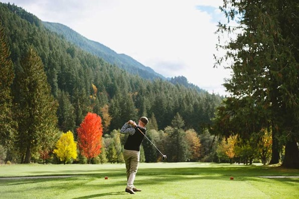 man playing golf at mt hood resort 27 hole golf course in welches in oregon's mt. hood territory