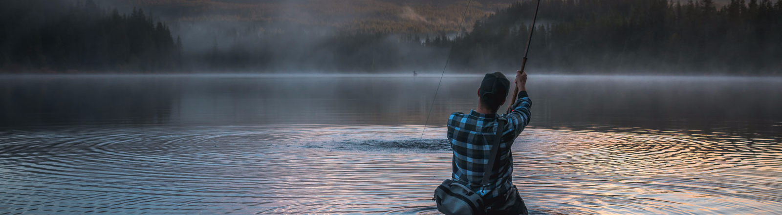 Fishing at Trillium Lake in the fall