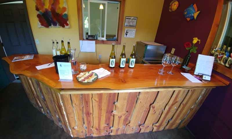 Wooden bar at Forest Edge Vineyard