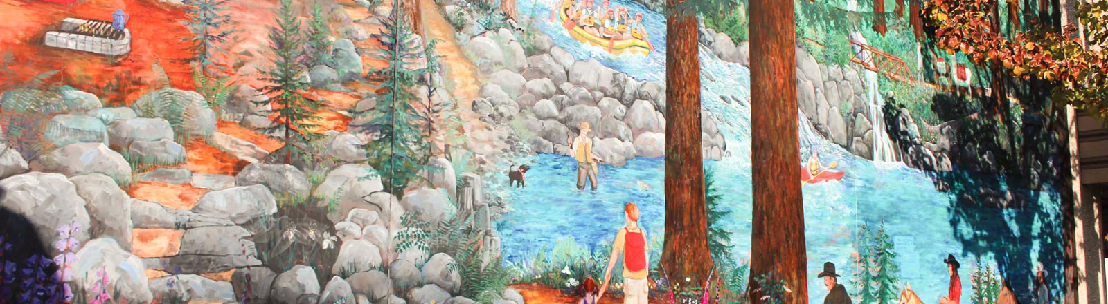 Colorful mural depicting outdoor activities of horseback riding, hiking, fishing and Clackamas River whitewater rafting.