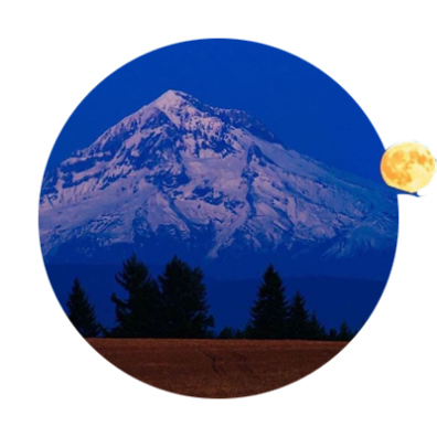 Harvest Moon over Mt. Hood