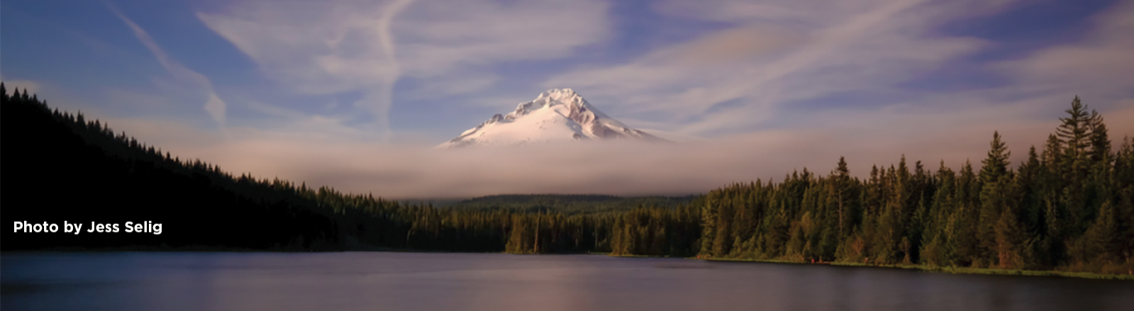 Snow covered Mt. Hood with low cloud bank over Mt. Hood National Forest with Trillium Lake in foreground
