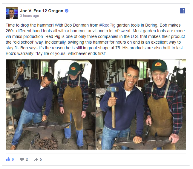 Bob Denman, owner of Red Pig Garden Tools is with Joe Vithayathil of Fox 12 TV as Joe tries using a large mallet and anvil to craft a tool.