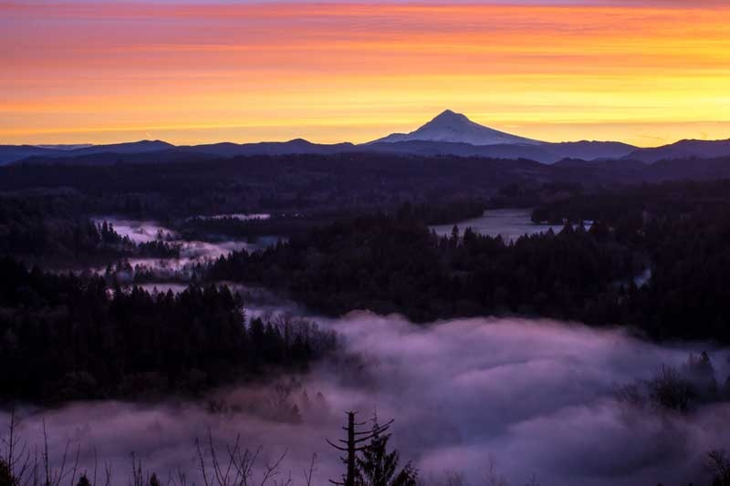 Jonsrud Viewpoint at sunrise in Oregons Mount Hood Territory