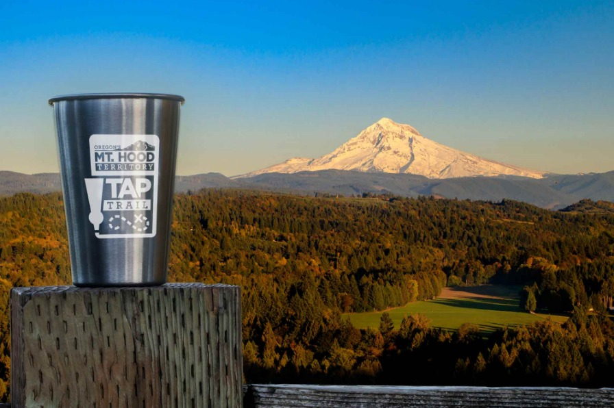 Mt. Hood and stainless steel pint glass Mt. Hood Territory Tap Trail