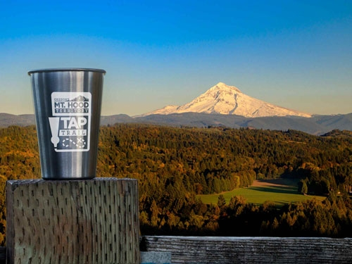 Mt. Hood Territory stainless steel pint glass at Jonsrud Viewpoint