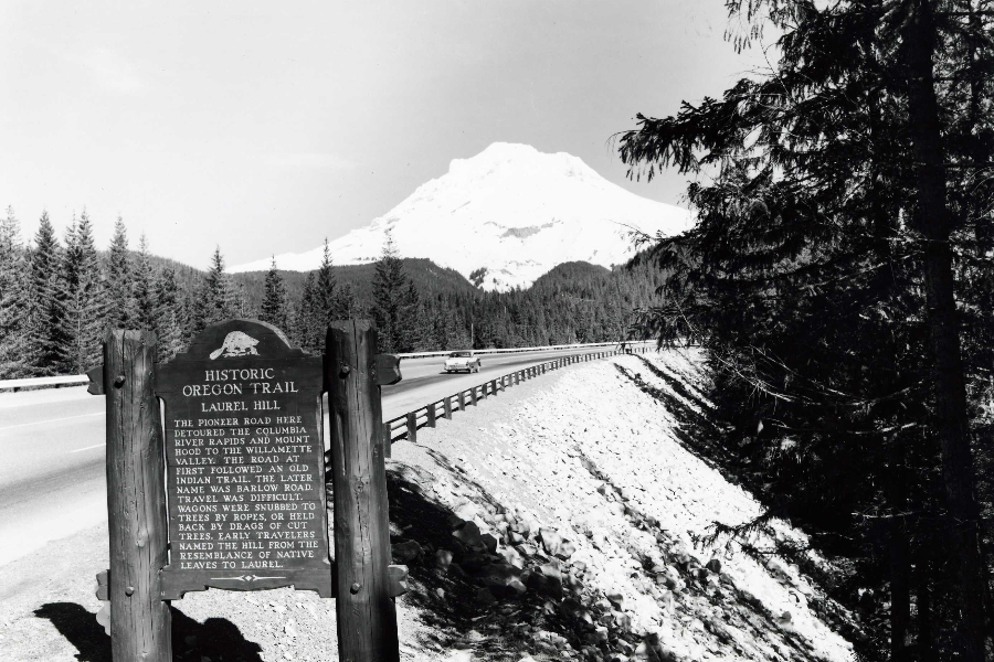 B&W photo of Historic Oreogn trail Interpretive sign at Laurel Hill off Hwy 26 with view of highway, Mt. Hood and forest