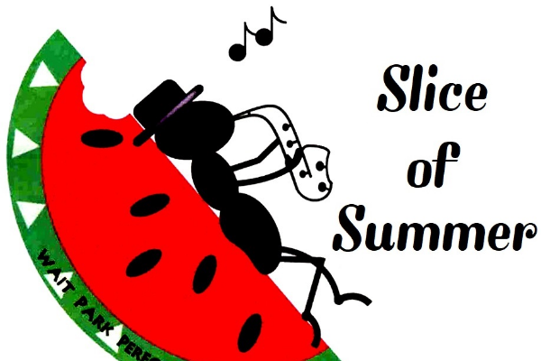 Cartoon ant reclining on a slice of watermelon playing the saxophone