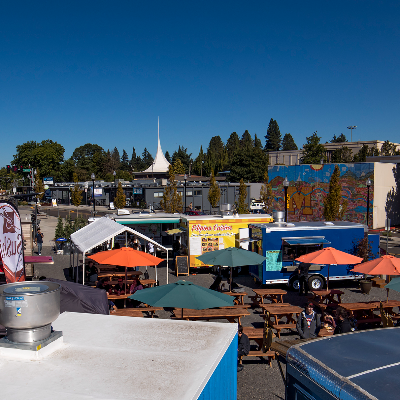 Milwaukie Station Food Carts from above