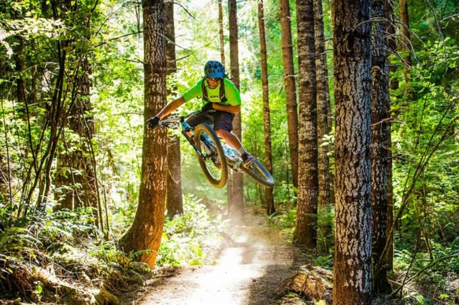 Bright sunlight shines through the forest onto one of the Sandy Ridge mountain biking trails as bike rider is airborne